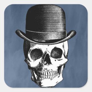 Retro Skull Head Square Sticker