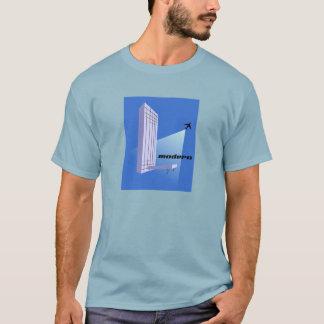 Retro Skyscraper and Airplane Mid-Century Modern T-Shirt