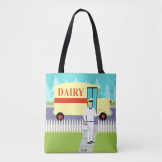 Retro Small Town Milk Man All-Over Print Tote Bag