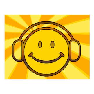 Retro Smiley Headphones Postcard