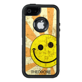 Retro Smiley Sunburst Name Template OtterBox iPhone 5/5s/SE Case