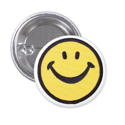 Retro Smilie Face Hippie Patch Button