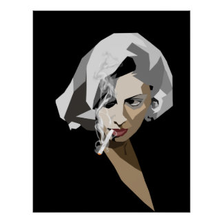 Retro smoking lady poster
