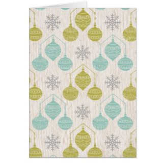 Retro snowflake and ornament -notecard note card