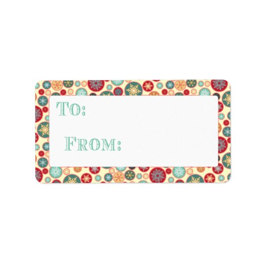 Retro Snowflake Christmas Gift Package Tag Address Label