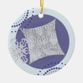 Retro Snowflake Christmas Photo Ornament
