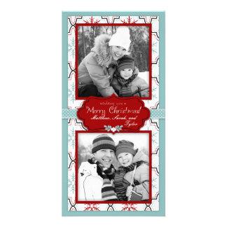 Retro Snowflakes Photo Card Duo