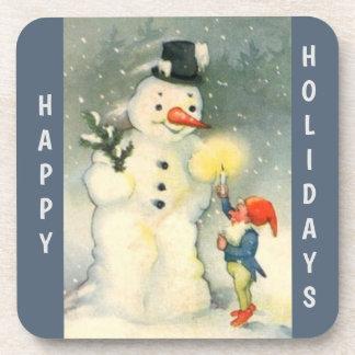 Retro Snowman and Elf Christmas Coaster
