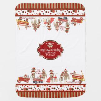 Retro Sock Monkey Red Wagon Car Truck Baby Boy Baby Blanket