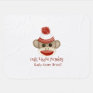 Retro Sock Monkey w Stocking Cap Baby Boy Gifts Baby Blanket