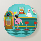 Retro Soda Fountain Round Pillow