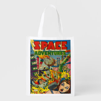 RETRO SPACE ADVENTURES SCI FI COMICS REUSABLE GROCERY BAG