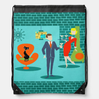 Retro Space Age Cartoon Couple Backpack