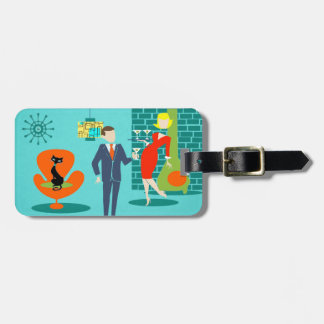 Retro Space Age Cartoon Couple Luggage Tag