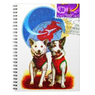 RETRO SPACE AGE (DOG ASTRONAUTS CCCP DESIGN) SPIRAL NOTEBOOKS