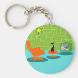 Retro Space Age Kitty Button Keychain