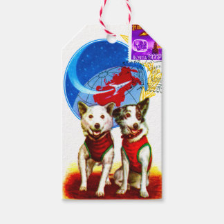 RETRO SPACE AGE (VINTAGE ASTRONAUT DOGS) GIFT TAGS