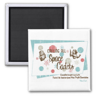 Retro 'Space Cadets' Square Magnet