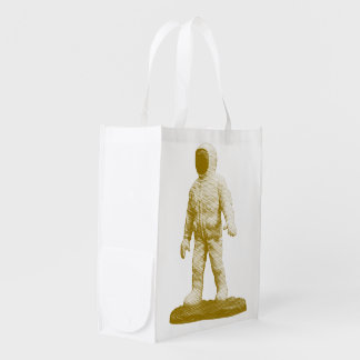Retro Space Man Figurine Reusable Grocery Bag