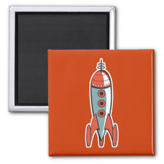 retro space rocket magnet
