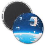 Retro space rocket satellite vintage illustration 6 cm round magnet