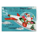 Retro Spaceship Santa Christmas Greeting Card