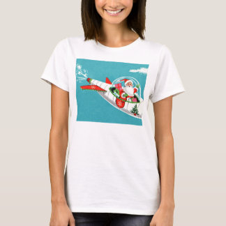 Retro Spaceship Santa Christmas T-Shirt