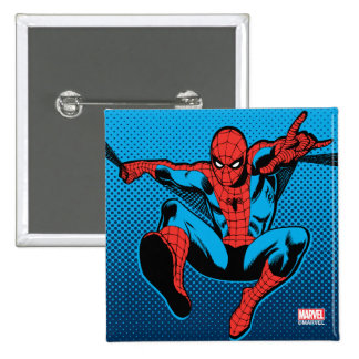 Retro Spider-Man Web Shooting 15 Cm Square Badge