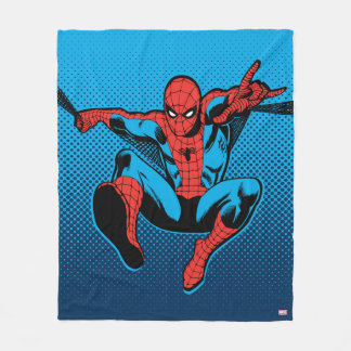 Retro Spider-Man Web Shooting Fleece Blanket