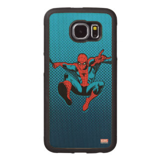 Retro Spider-Man Web Shooting Wood Phone Case