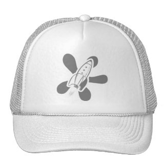 Retro Splat Rocket White Grey Mesh Hats