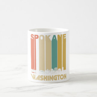 Retro Spokane Washington Skyline Coffee Mug