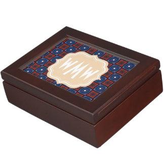 Retro Square Pattern Three Letter Monogram Memory Boxes