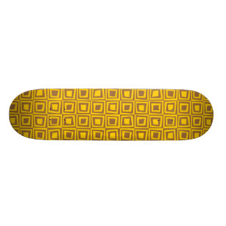 Retro Squares - Amber on Brown Skate Board
