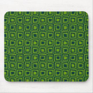 Retro Squares - Dark Green on Avocado Green Mouse Pad