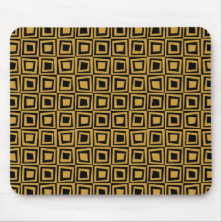 Retro Squares - Golden Brown on Black Mouse Pad