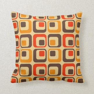 Retro Squares Pattern - Red, Brown & Orange Cushion