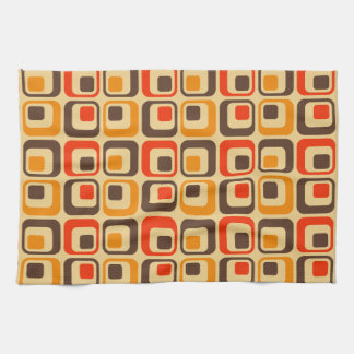 Retro Squares Pattern - Red, Brown & Orange Hand Towel