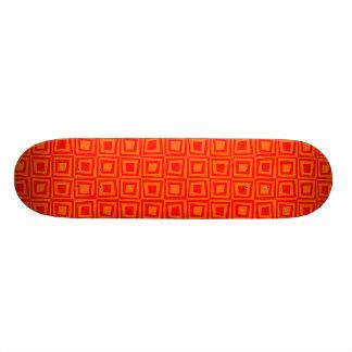 Retro Squares - Red on Orange Skate Board