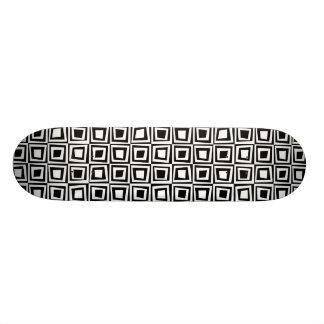 Retro Squares - White on Black 18.1 Cm Old School Skateboard Deck
