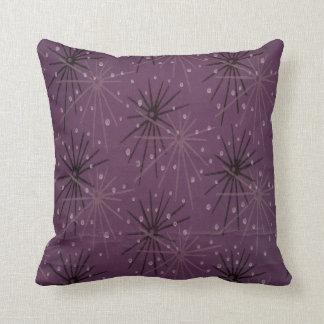 Retro Star Burst Purple Throw Pillow