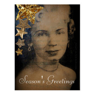 'Retro Star' Christmas Postcard