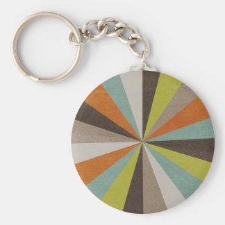 Retro Starburst Pattern Basic Round Button Key Ring