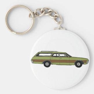 retro station wagon basic round button key ring
