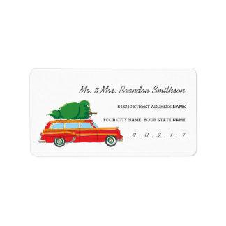 Retro Station Wagon Christmas Tree Sticker Address Label
