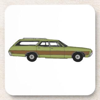 retro station wagon drink coaster