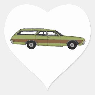 retro station wagon heart sticker