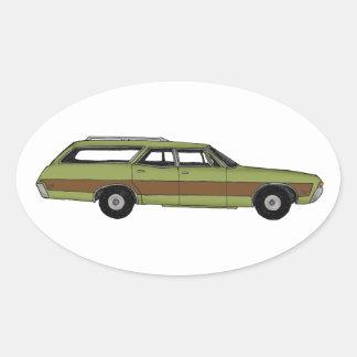 retro station wagon oval sticker