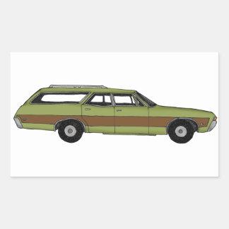 retro station wagon rectangular sticker