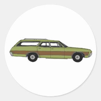 retro station wagon round sticker
